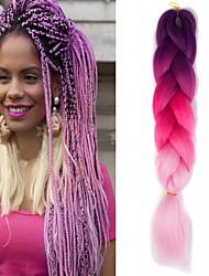 "Beringela rosa rosa ombre crochet 24 ""yaki kanekalon fibra 3 tom 100g jumbo tranças cabelo sintético"