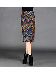 Package hip skirt skirts autumn and winter long section of the printed word was a thin woolen skirt long skirt step skirt package