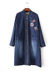 Feminino Jaquetas Jeans Casual Simples Primavera / Outono,Sólido Azul Poliéster Colarinho Chinês-Manga Longa Média