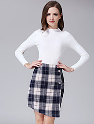 Women's Bodycon Check Skirts,Casual/Daily Simple Mid Rise Asymmetrical Zipper / Button Polyester Inelastic Fall