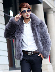Men's Casual/Daily Simple Fur Coat,Solid Shirt Collar Long Sleeve Winter Gray Faux Fur Thick