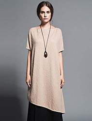 Damen Lose Kleid-Lässig/Alltäglich Einfach Solide Rundhalsausschnitt Midi Kurzarm Weiß / Beige / Schwarz / Grau Wolle / Baumwolle Herbst