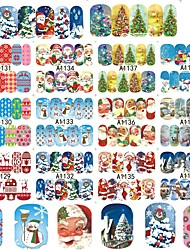 New Set 48 Designs/Sets Christmas Xmas Full Wraps Beauty Water Transfer Sticker Nail Art Decorations Tips DIY Stamp A1129-1176
