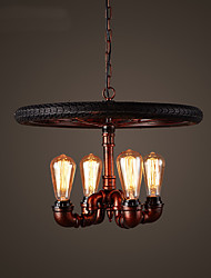 vintage Industrial Creative Bicycle Tyre Pendant Lights Living Room Dining Room Kitchen Cafe Light Fixture with 4 Bulb Sockets