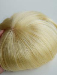 белокурого # 613 человека тупею 7x9 особый заказ высокого качества на основе светлые прямые моно бразильские волосы Remy # 613 блондинка