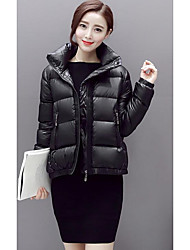 Women's Regular Down Coat,Cute Going out Solid-Polyester White Duck Down Long Sleeve Pink / Black