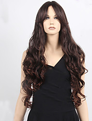 Women Long Wavy Synthetic Wigs Brown Synthetic Hair Wigs Highlighted Heat Resistant Natural Middle Part Wig