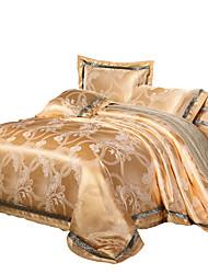 Пододеяльник наборы Цветы 4 предмета Шелково-шерстяная ткань Жаккардовое переплетение Шелково-шерстяная ткань 4 шт. (1 пододеяльник, 1