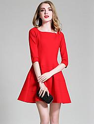 Feminino Evasê Vestido,Informal / Casual / Férias estilo antigo / Simples / Moda de Rua Sólido / Retalhos Decote RedondoAltura dos
