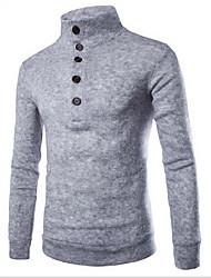 Men's Casual/Daily Simple Regular Cardigan,Solid Blue / Red / Gray Turtleneck Long Sleeve Wool Spring / Fall Medium Micro-elastic