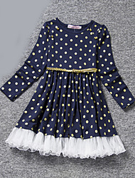 Girl's Blue / Pink Dress , Dot Polyester All Seasons