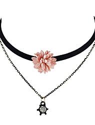 Latest Fashion Double Layers Flower Pendant Choker Necklaces