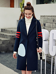 Women's Casual/Daily Simple Coat,Solid Long Sleeve Blue Cotton
