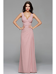 A-Line V-neck Floor Length Chiffon Bridesmaid Dress with Draping Side Draping by MYF