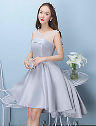 Short / Mini Shantung Open Back / Sexy Bridesmaid Dress - Princess Jewel with Bandage