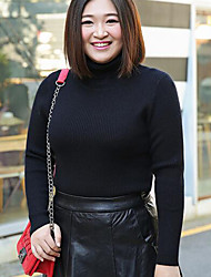 Women's Casual/Daily Plus Size Simple Regular Pullover,Solid Pink Black Gray Round Neck Long Sleeve Polyester Nylon Fall Winter Medium