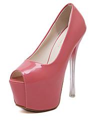 Damen-Sandalen-Lässig-PU-StöckelabsatzWeiß Schwarz Rosa