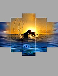 Seascape Setting sun Sexy Woman Nude HD Print Painting on Canvas Naked Girl Body 5pcs/set No Frame