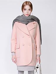 Feminino Casaco Casual Simples Outono / Inverno,Sólido Rosa Lã / Poliéster Colarinho de Camisa-Manga Longa Média