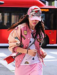Mulheres Jaquetas de Couro Happy-Hour / Casual Moda de Rua Outono,Patchwork Rosa Poliuretano Colarinho Chinês Manga Longa Média