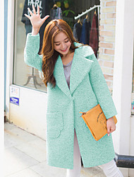 Women's Going out / Beach / Holiday Cute / Street chic Pea Coats,Solid Shirt Collar Long Sleeve Winter Green / Purple Wool Medium / Thick