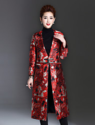 1898 Women's Plus Size / Casual/Daily Sophisticated CoatJacquard V Neck Long Sleeve Winter Red Polyester