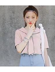Tee-shirt Femme,Couleur Pleine Sortie / Plage Vintage / Chic de Rue / Sophistiqué Eté Manches Courtes Col Arrondi Rose / BlancFibre de