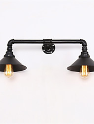 Vintage Industrial Pipe Wall Lights Black Metal Shade Restaurant Cafe Bar Decoration lighting With 2 Light Painted Finish