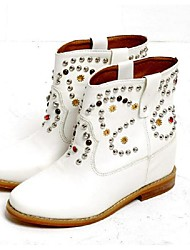 Women's Boots Winter PU Casual Flat Heel Sparkling Glitter White Brown Walking