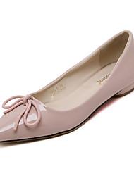 Women's Flats Fall Winter Comfort PU Office & Career Casual Low Heel Bowknot Black Pink Gray