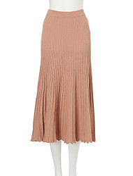 Women's Swing Solid Skirts,Going out Low Rise Maxi Elasticity Cotton Micro-elastic All Seasons