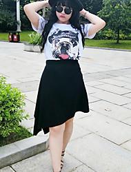 Damen Einfach Asymmetrisch Röcke Bodycon,Geschlitzt einfarbig