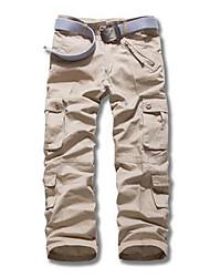 Masculino Solto Chinos Calças-Cor Única Casual Simples Cintura Alta Zíper Algodão Micro-Elástico All Seasons