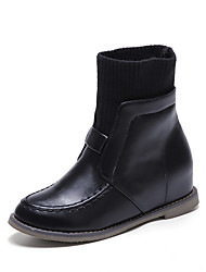 Women's Pull-on Low-Heels Artificial Cow Leather Solid Low-top Boots