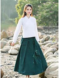 Damen Röcke,Bodycon einfarbig Tüll,Lässig/Alltäglich Chinoiserie Hohe Hüfthöhe Midi Knopf Baumwolle Micro-elastisch Riemengurte / Sommer