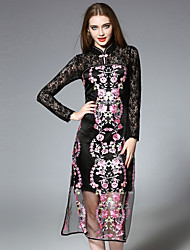 JOJO HANS Women's Casual/Daily Chinoiserie Lace DressEmbroidered Stand Midi Long Sleeve Black Silk / Polyester Fall Mid Rise Inelastic Medium