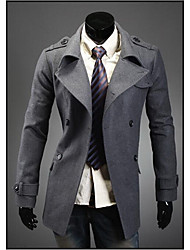 Men's Casual/Daily / Work Simple Trench Coat,Solid Shirt Collar Long Sleeve Fall / Winter Blue / Black / Gray Wool Medium