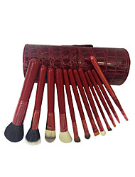 12 Makeup Brushes Set Goat Hair Professional / Portable Wood Handle Face/Eye/Lip Rose Red