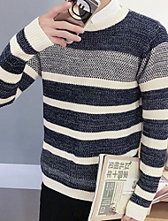 Men's Casual/Daily Simple Regular Cardigan,Solid Blue / Red Round Neck Long Sleeve Cotton Fall / Winter Medium Micro-elastic
