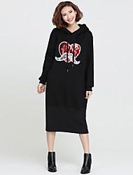 Ample Robe Femme Travail / Sportif Mignon / Chinoiserie,Couleur Pleine Col Arrondi Midi Manches Longues Noir Coton Toutes les Saisons