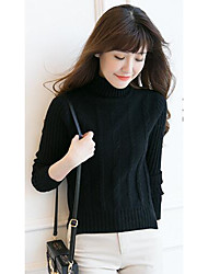 Women's Casual/Daily Simple Short Pullover,Solid Blue / Black / Purple Turtleneck Long Sleeve Cashmere Fall Medium Micro-elastic