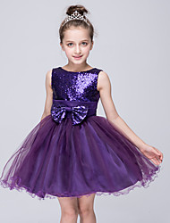 Girl's Blue / Purple / Red / White / Beige Dress , Bow Polyester Summer