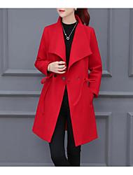 Manteau Femme,Couleur Pleine Sortie / Décontracté / Quotidien simple Manches Longues Col de Chemise Rouge / Orange Acrylique MoyenAutomne