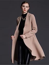 Feminino Casaco Casual Simples Outono / Inverno,Sólido Marrom Lã Colarinho de Camisa-Manga Longa Média