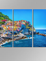 VISUAL STAR 3 Panel Seascape  Planet Photos Print on Canvas Wall Decoration Canvas Art Ready to Hang
