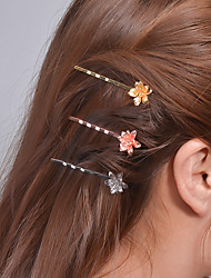 Women Fashion Plated Rose Gold Alloy Clip Headdress Hairpin Simple Metal Flower Hair Accessories  1 Piece