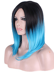 Bob Medium Side Bang Kinky Straight Synthetic Wigs for Women Black Blue Heat Resistant Cheap Cosplay Wig Hair