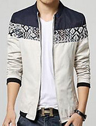 Men's Going out / Casual/Daily Simple Jackets,Solid Stand Long Sleeve Blue / White / Orange Cotton