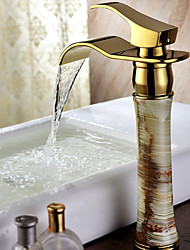 Contemporary Vessel Waterfall with Ceramic Valve Single Handle One Hole for Ti-PVD  Bathroom Sink Faucet