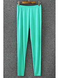 Women's Plus Size Loose / Straight Chinos Pants,Casual/Daily Simple Solid Mid Rise Elasticity Acrylic Stretchy Spring / Fall